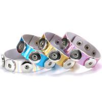 Snap-Knopf-Armband, PU Leder, mit Messing & Edelstahl, unisex & einstellbar, keine, frei von Nickel, Blei & Kadmium, 18mm, verkauft per ca. 8.5 ZollInch Strang