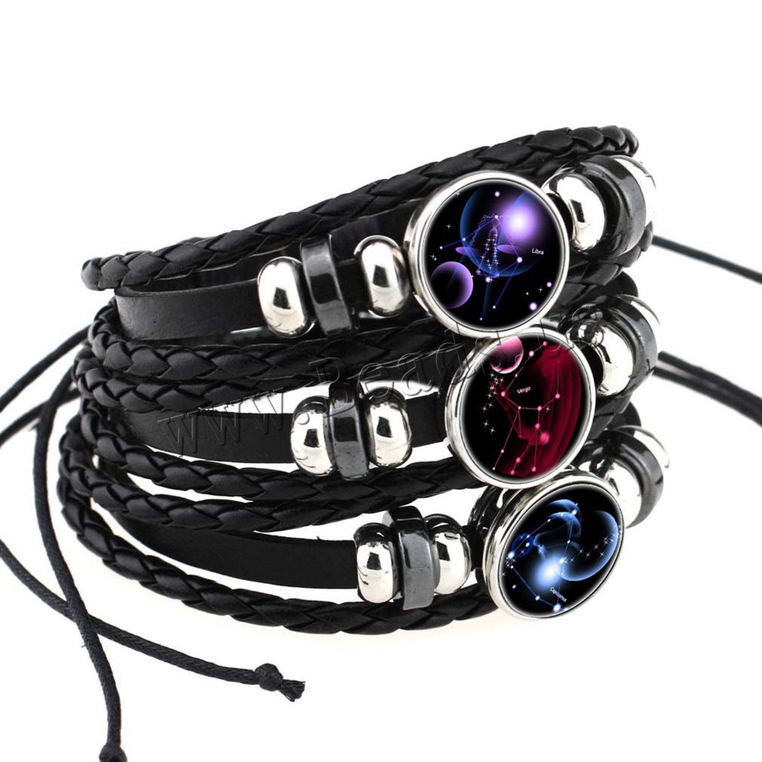 Buy Fashion Time Gem Bracelet Cowhide Paper & Glass & Zinc Alloy 2.5inch extender chain plated time gem jewelry & Unisex & constellation symbols & adjustable & different designs choice & 3-strand nickel lead & cadmium free 18mm Sold Per Approx 7.5-11 Inch Strand