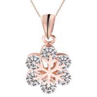 Österreichischen Kristall Halskette, Messing, mit Österreichischer Kristall, Schneeflocke, plattiert, Oval-Kette & facettierte, keine, frei von Nickel, Blei & Kadmium, 450mm, verkauft per ca. 17.5 ZollInch Strang