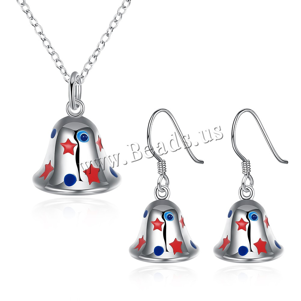 Buy Brass Jewelry Set earring & necklace Christmas Bell silver color plated Christmas jewelry & oval chain & enamel 13x25mm 15x18mm Length:Approx 17.7 Inch Sold Set