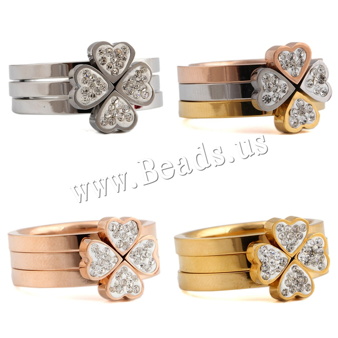 Buy Rhinestone Finger Ring Titanium Steel plated different size choice & woman & rhinestone colors choice 7.6mm Sold PC