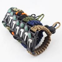 Überleben Armbänder, Nylonschnur, Kunststoff Folie Release Schnalle, mit Feuer-starter & mit Kompass & unisex & einstellbar, keine, 25mm, verkauft per ca. 8.5 ZollInch Strang