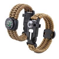 Überleben Armbänder, Nylonschnur, Kunststoff Folie Release Schnalle, mit Feuer-starter & mit Kompass & unisex & mit Thermometer, keine, 25mm, verkauft per ca. 8.5 ZollInch Strang