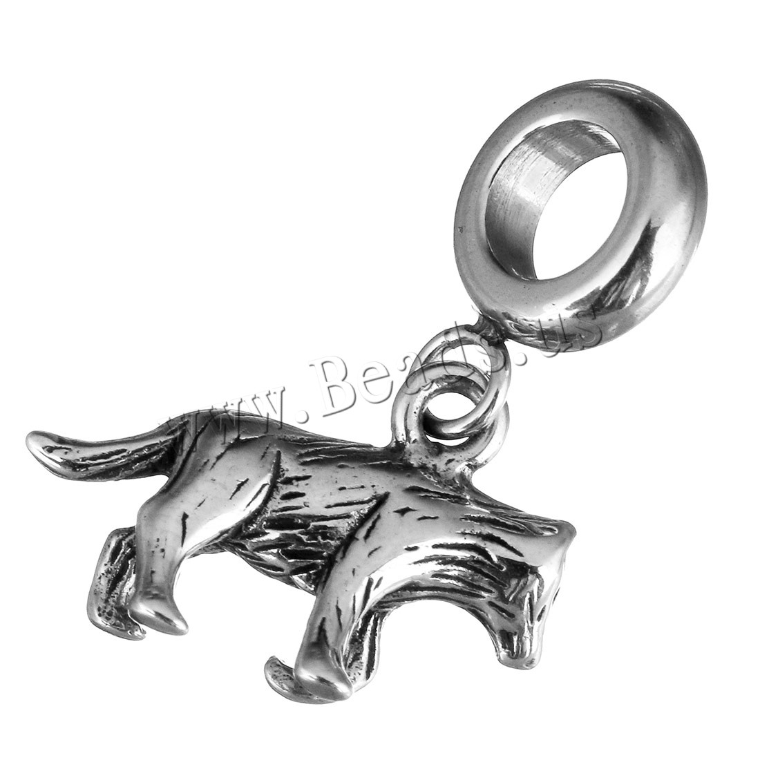 Buy Stainless Steel European Pendants Animal without troll & blacken 3x12x9mm 17x11.5x4mm Hole:Approx 5mm 1 Sold Lot