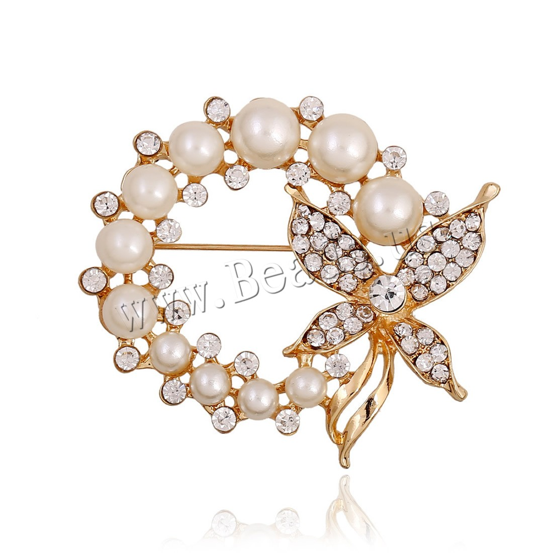 Buy Plastic Pearl Brooch Zinc Alloy ABS Plastic Pearl gold color plated woman & rhinestone lead & cadmium free 55x40mm Sold PC
