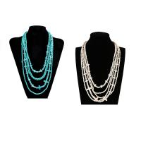 Mode Türkis Halskette, Synthetische Türkis, mit Glas-Rocailles & Verkupferter Kunststoff, mit Verlängerungskettchen von 5cm, für Frau, keine, 36mm, verkauft per ca. 15 ZollInch Strang