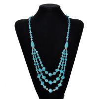 Mode Türkis Halskette, Synthetische Türkis, mit Verkupferter Kunststoff, mit Verlängerungskettchen von 5cm, für Frau, 25mm, verkauft per ca. 18 ZollInch Strang