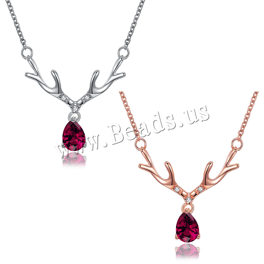 Buy Comeon® Jewelry Necklace Brass Antlers plated Christmas jewelry & oval chain & micro pave cubic zirconia & woman colors choice nickel lead & cadmium free 26x25mm Sold Per Approx 19.5 Inch Strand