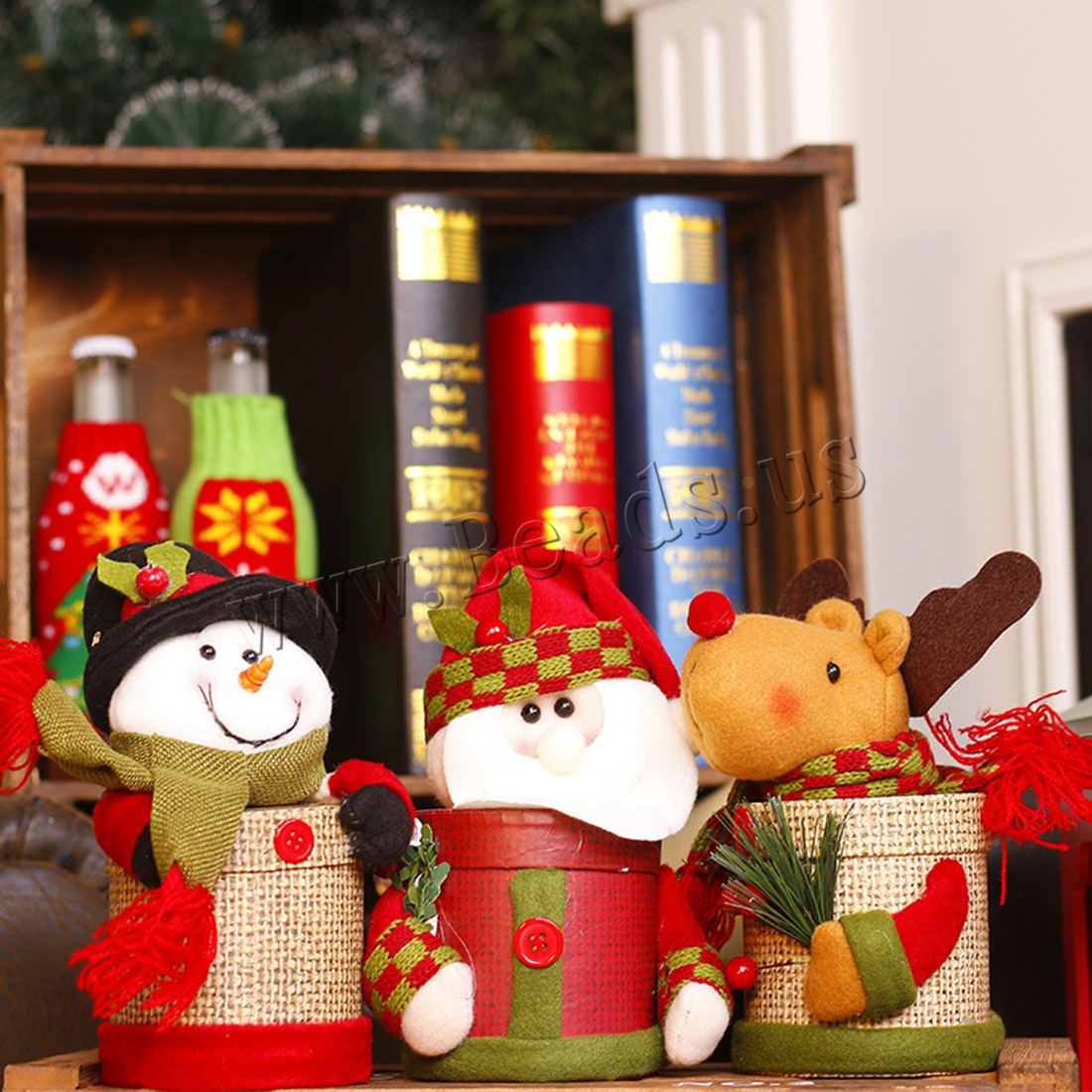 Buy Non-woven Fabrics Christmas Candy Jar paper box Christmas jewelry & different styles choice 90x200mm 85mm Sold PC