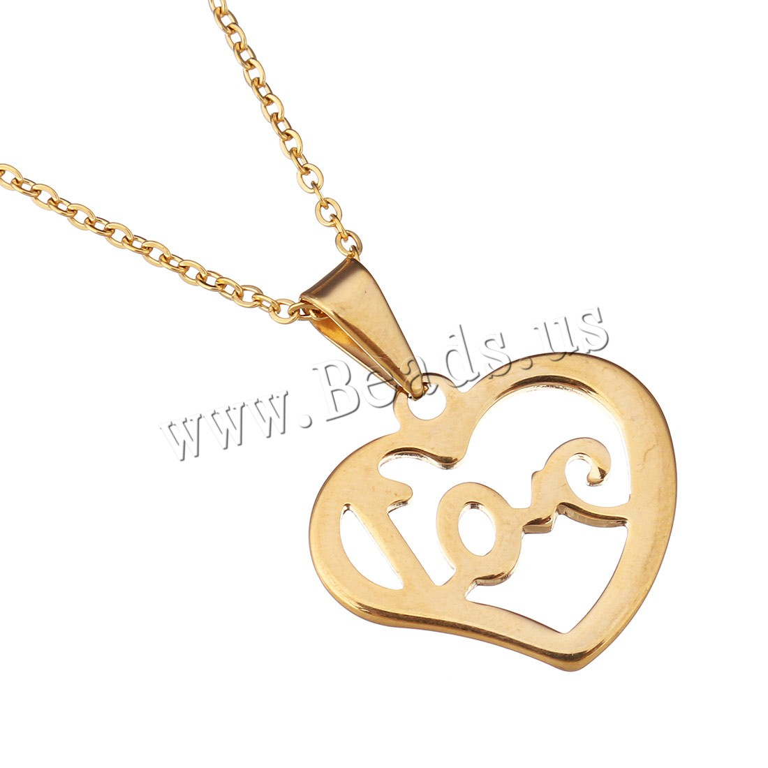 Buy Stainless Steel Jewelry Necklace Heart word love gold color plated oval chain & woman 22x19mm 1.5mm Sold Per Approx 18 Inch Strand
