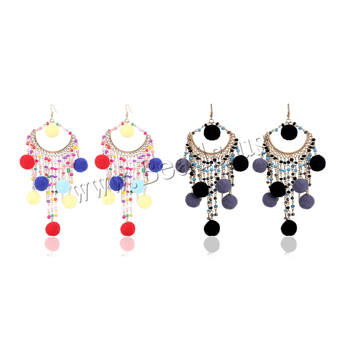 Buy Zinc Alloy Drop Earring Plush & Glass Seed Beads iron earring hook gold color plated woman colors choice lead & cadmium free 155mm Sold Pair