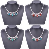 Kristall Halskette, Zinklegierung, mit Kristall, mit Verlängerungskettchen von 6cm, Platinfarbe platiniert, für Frau, keine, frei von Blei & Kadmium, 460mm, verkauft per ca. 18 ZollInch Strang