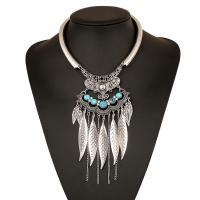 Mode Türkis Halskette, Zinklegierung, mit Synthetische Türkis, mit Verlängerungskettchen von 5cm, Blatt, plattiert, für Frau, keine, frei von Blei & Kadmium, 100mm, verkauft per ca. 15.5 ZollInch Strang
