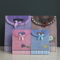 Geschenk Geschenkpapier, Papier, mit Satinband, verschiedene Größen vorhanden & verschiedene Muster für Wahl & mit Dekoration von Bandschleife, 10PCs/Menge, verkauft von Menge