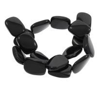 Schwarzer Achat Anhänger, Rechteck, 19x25x6mm, Bohrung:ca. 0.5mm, 16PCs/Strang, verkauft per ca. 15.7 ZollInch Strang