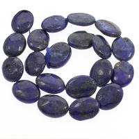 Lapislazuli Perle, oval, verschiedene Größen vorhanden, Bohrung:ca. 1mm, verkauft per ca. 16.1 ZollInch Strang