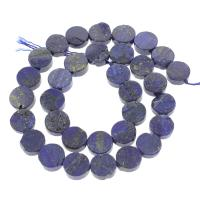 Lapislazuli Perle, flache Runde, 12x12x5mm, Bohrung:ca. 1mm, ca. 32PCs/Strang, verkauft per ca. 15.5 ZollInch Strang