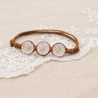 Glas Armband, mit Getrocknete Blumen & Nylonschnur, für Frau, keine, 70mm, verkauft per ca. 7 ZollInch Strang