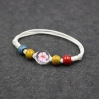 Glas Armband, mit Getrocknete Blumen & Porzellan & Nylonschnur, für Frau, 12mm, verkauft per ca. 7 ZollInch Strang