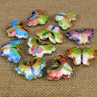 Cloisonne Perlen, Cloisonné, Schmetterling, handgemacht, hohl, keine, 27x19mm, Bohrung:ca. 1.5mm, 10PCs/Tasche, verkauft von Tasche