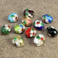 Cloisonne Perlen, Cloisonné, oval, handgemacht, keine, 10x12mm, Bohrung:ca. 1.5mm, 30PCs/Tasche, verkauft von Tasche