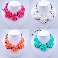 Kragen Halskette, Satinband, mit Harz, mit Verlängerungskettchen von 2inch, für Frau, keine, frei von Nickel, Blei & Kadmium, verkauft per ca. 35 ZollInch Strang