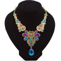 Kristall Zinklegierung Halskette, mit Kristall, mit Verlängerungskettchen von 2inch, goldfarben plattiert, für Frau & facettierte & mit Strass, frei von Nickel, Blei & Kadmium, verkauft per ca. 19.6 ZollInch Strang