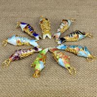 Cloisonné Anhänger, Fisch, handgemacht, keine, 35mm, Bohrung:ca. 2.5mm, 10PCs/Tasche, verkauft von Tasche