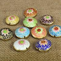 Cloisonne Perlen, Cloisonné, flache Runde, handgemacht, keine, 16mm, Bohrung:ca. 1.5mm, 10PCs/Tasche, verkauft von Tasche