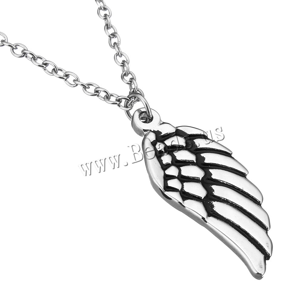 Buy Stainless Steel Jewelry Necklace Wing Shape oval chain & woman & enamel original color 14.5x34.5mm 2x3mm Sold Per Approx 19.5 Inch Strand