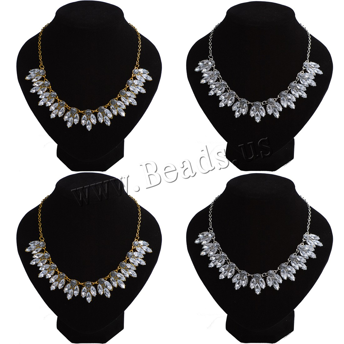 Buy Crystal Necklace Zinc Alloy Crystal 2inch extender chain plated oval chain & woman & faceted colors choice nickel lead & cadmium free Sold Per Approx 16.5 Inch Strand
