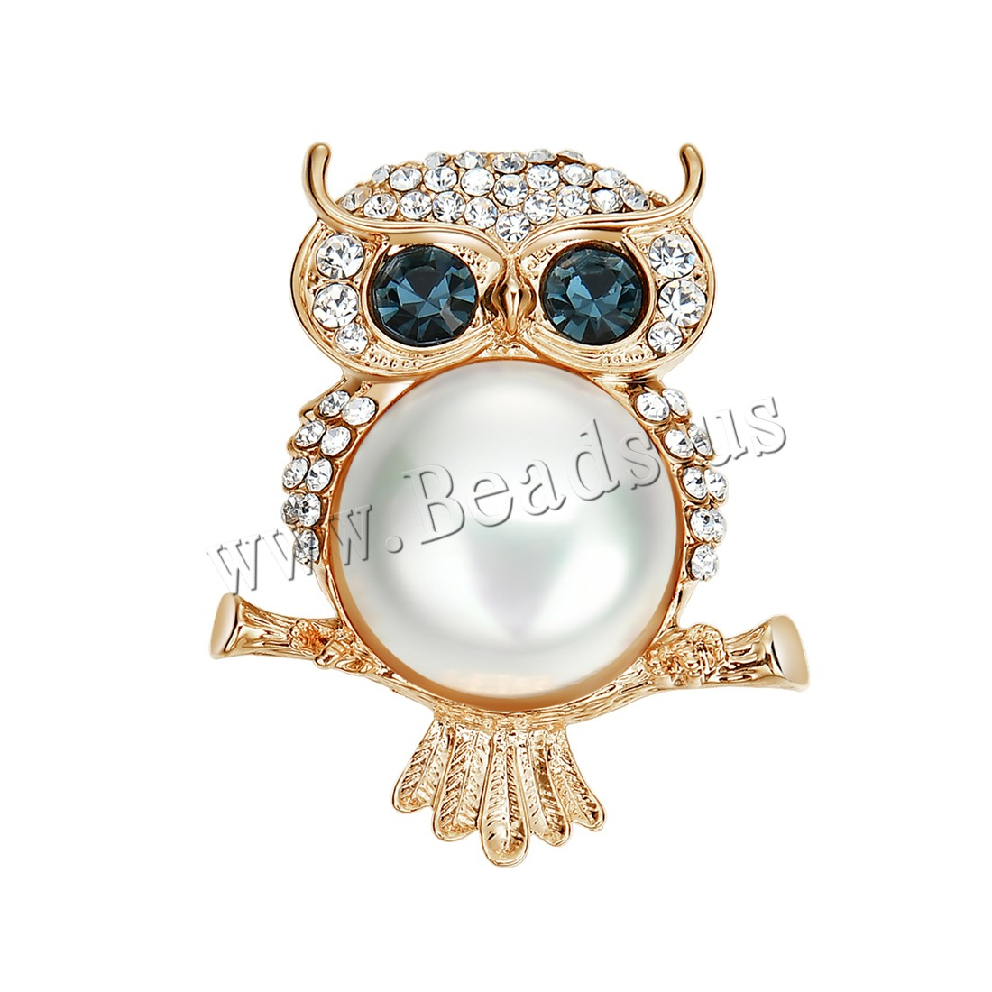 Buy Plastic Pearl Brooch Zinc Alloy ABS Plastic Pearl Owl gold color plated woman & rhinestone lead & cadmium free 34x42mm Sold PC