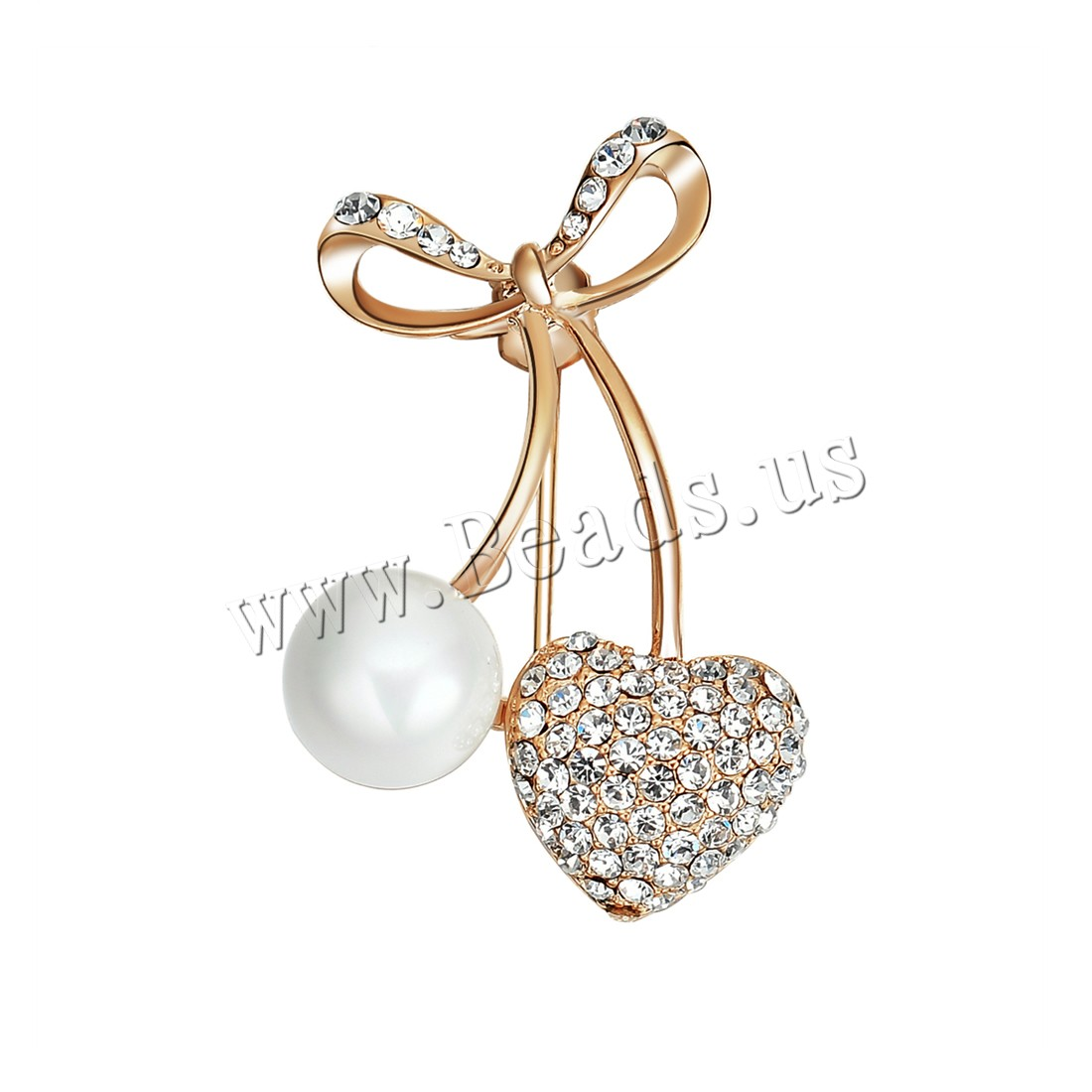 Buy Plastic Pearl Brooch Zinc Alloy ABS Plastic Pearl Cherry gold color plated woman & rhinestone lead & cadmium free 21x33mm Sold PC