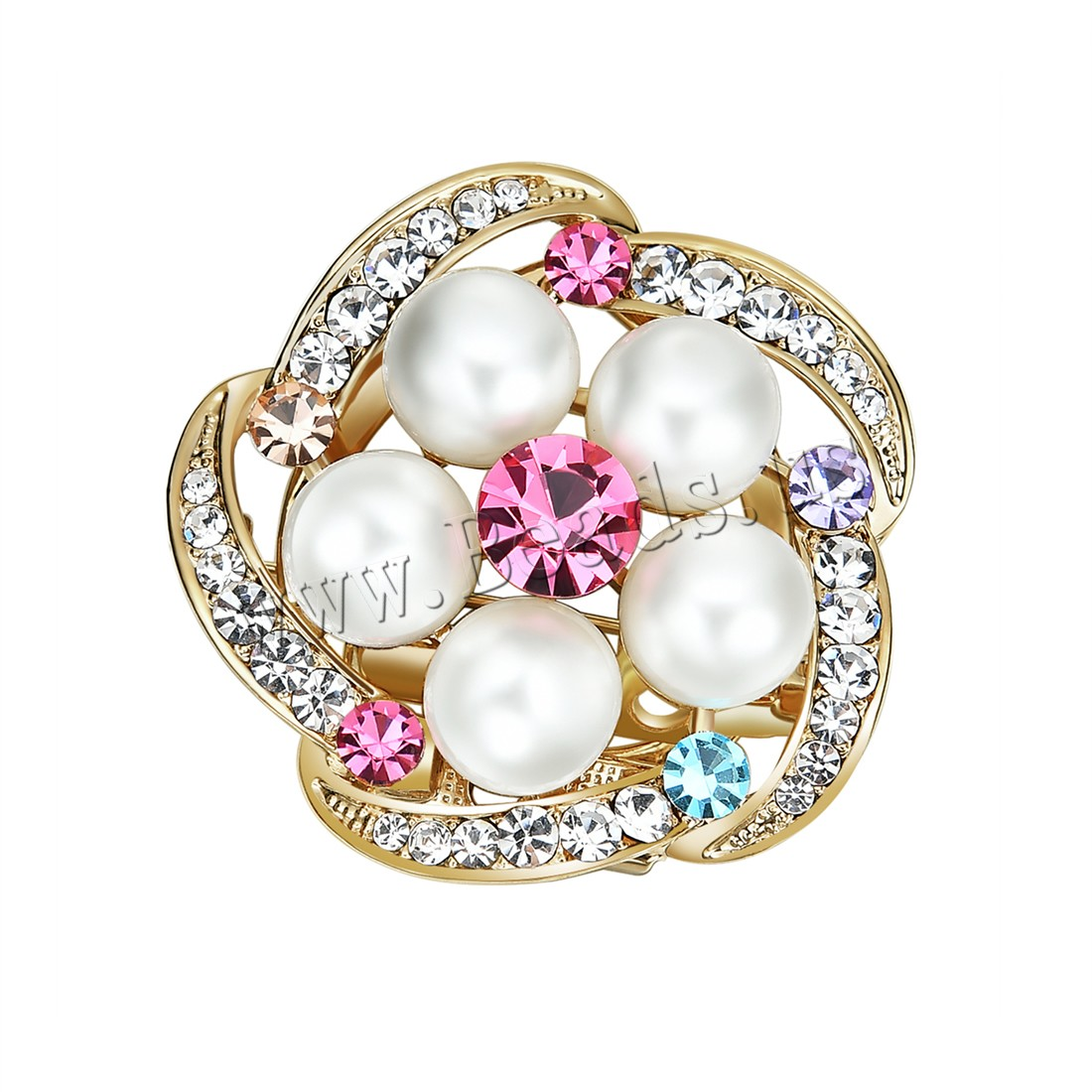 Buy Plastic Pearl Brooch Zinc Alloy ABS Plastic Pearl Flower gold color plated woman & rhinestone lead & cadmium free 36x36mm Sold PC
