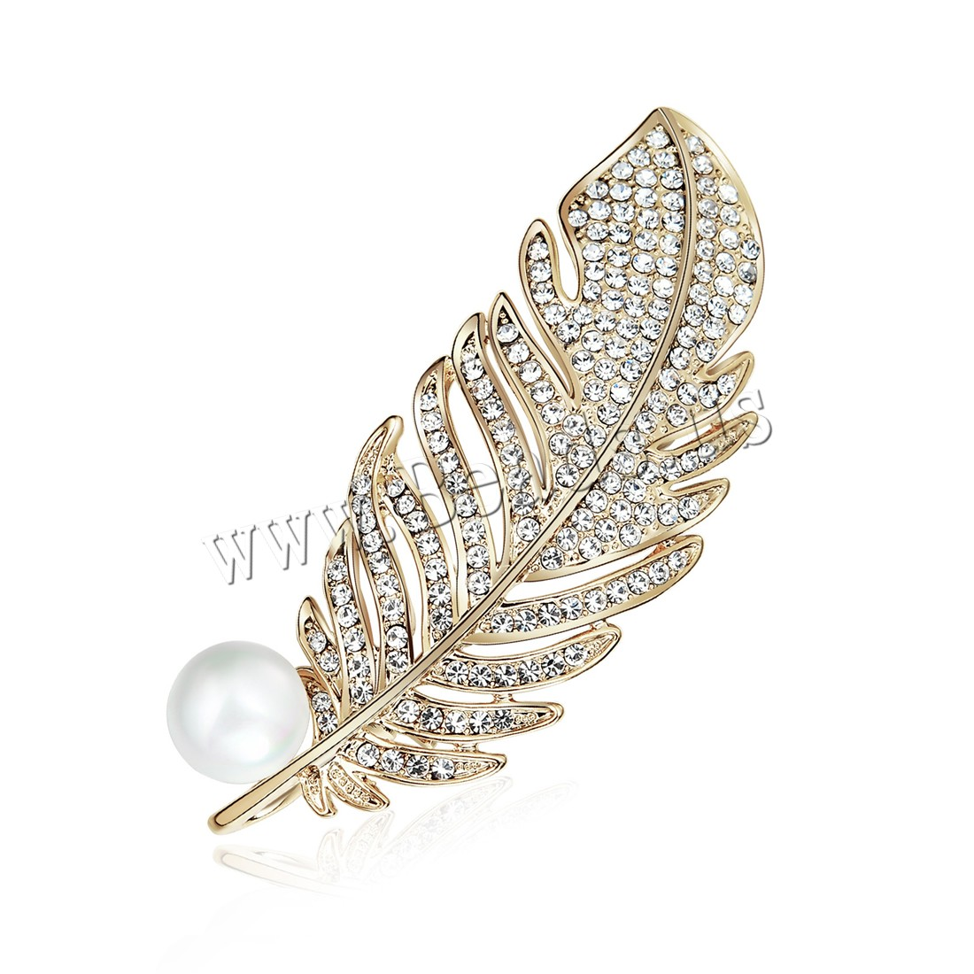 Buy Plastic Pearl Brooch Zinc Alloy ABS Plastic Pearl Leaf gold color plated woman & rhinestone lead & cadmium free 60x25.4mm Sold PC