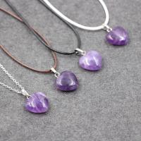 Amethyst Halskette, Herz, Februar Birthstone & verschiedene Stile für Wahl & für Frau, 450mm, verkauft per ca. 17.5 ZollInch Strang