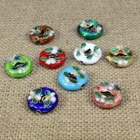 Cloisonne Perlen, Cloisonné, flache Runde, handgemacht, keine, 15x15mm, Bohrung:ca. 1.5mm, 30PCs/Tasche, verkauft von Tasche