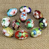 Cloisonne Perlen, Cloisonné, oval, handgemacht, keine, 14x9mm, Bohrung:ca. 1.5mm, 10PCs/Tasche, verkauft von Tasche