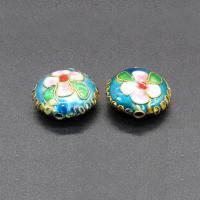 Cloisonne Perlen, Cloisonné, flache Runde, handgemacht, keine, 15mm, Bohrung:ca. 1.5mm, 10PCs/Tasche, verkauft von Tasche