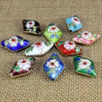 Cloisonne Perlen, Cloisonné, handgemacht, keine, 20x14mm, Bohrung:ca. 1.5mm, 10PCs/Tasche, verkauft von Tasche