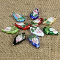 Cloisonne Perlen, Cloisonné, Tropfen, handgemacht, keine, 19x11mm, Bohrung:ca. 1.5mm, 30PCs/Tasche, verkauft von Tasche
