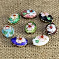Cloisonne Perlen, Cloisonné, flachoval, handgemacht, keine, 13x9mm, Bohrung:ca. 1.5mm, 10PCs/Tasche, verkauft von Tasche