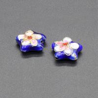 Cloisonne Perlen, Cloisonné, Stern, handgemacht, blau, 12mm, Bohrung:ca. 1.5mm, 10PCs/Tasche, verkauft von Tasche