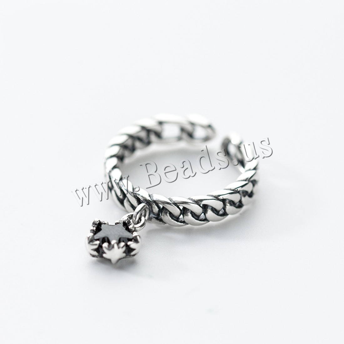 Buy Thailand Sterling Silver Cuff Finger Ring Star woman & rhinestone 7mm 2mm US Ring Size:10-11 Sold PC