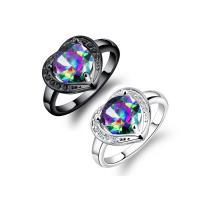 Kristall Fingerring, Zinklegierung, mit Kristall, plattiert, verschiedene Größen vorhanden & für Frau & facettierte, keine, 14mm, verkauft von PC