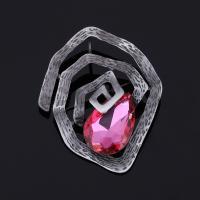 Kristall Brosche, Zinklegierung, mit Kristall, antik silberfarben plattiert, für Frau & facettierte, keine, frei von Blei & Kadmium, 55x70mm, verkauft von PC
