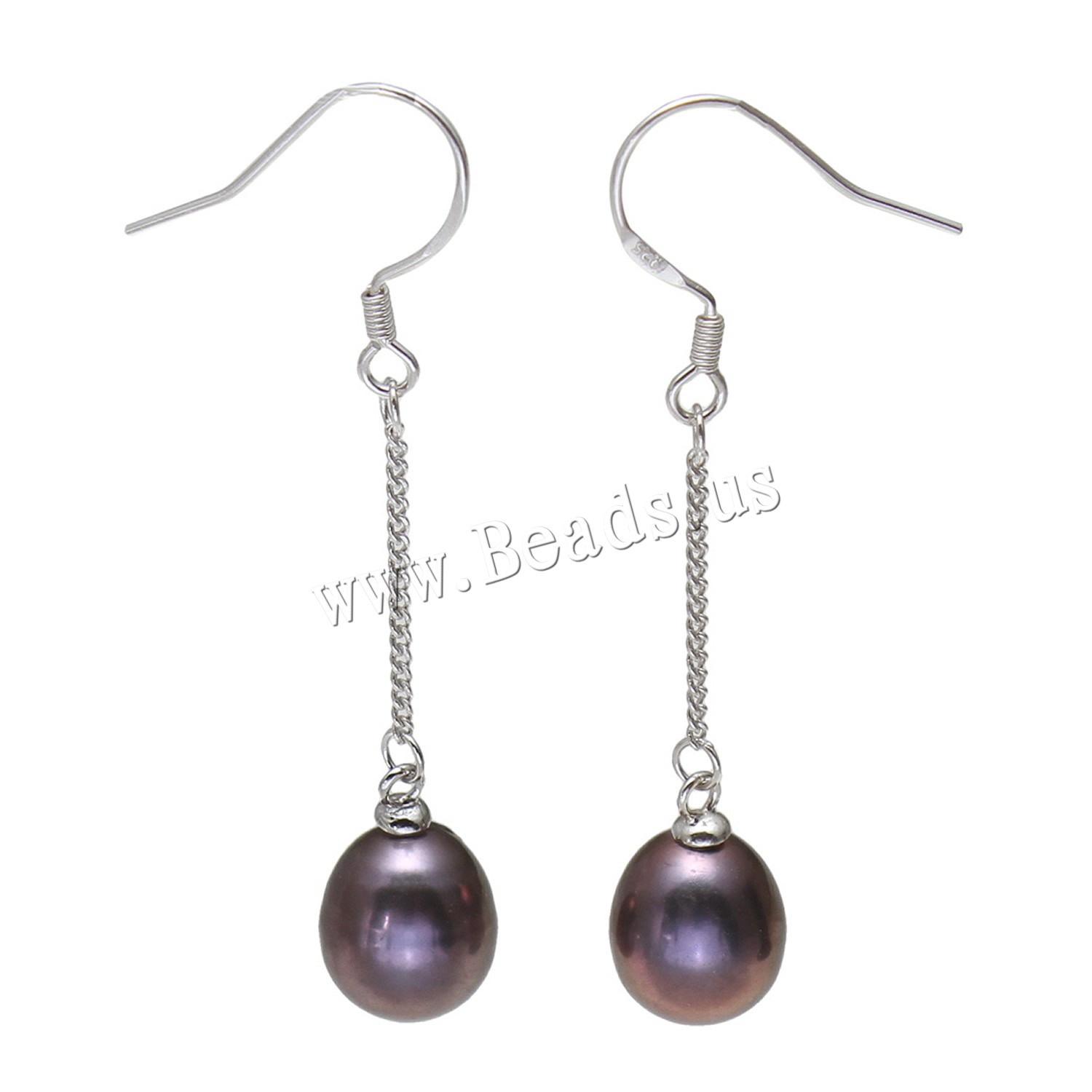 Buy Freshwater Pearl Earrings Brass Rice platinum color plated woman black 9-10mmuff0c44mm Sold Pair