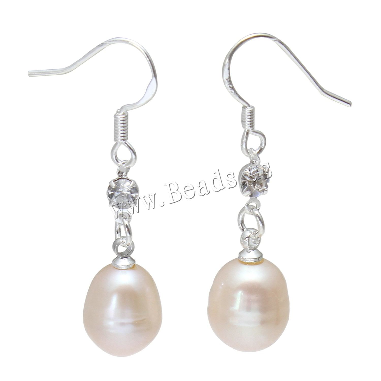 Buy Freshwater Pearl Earrings Brass Rice silver color plated woman pink 10-11mmuff0c39mm Sold Pair
