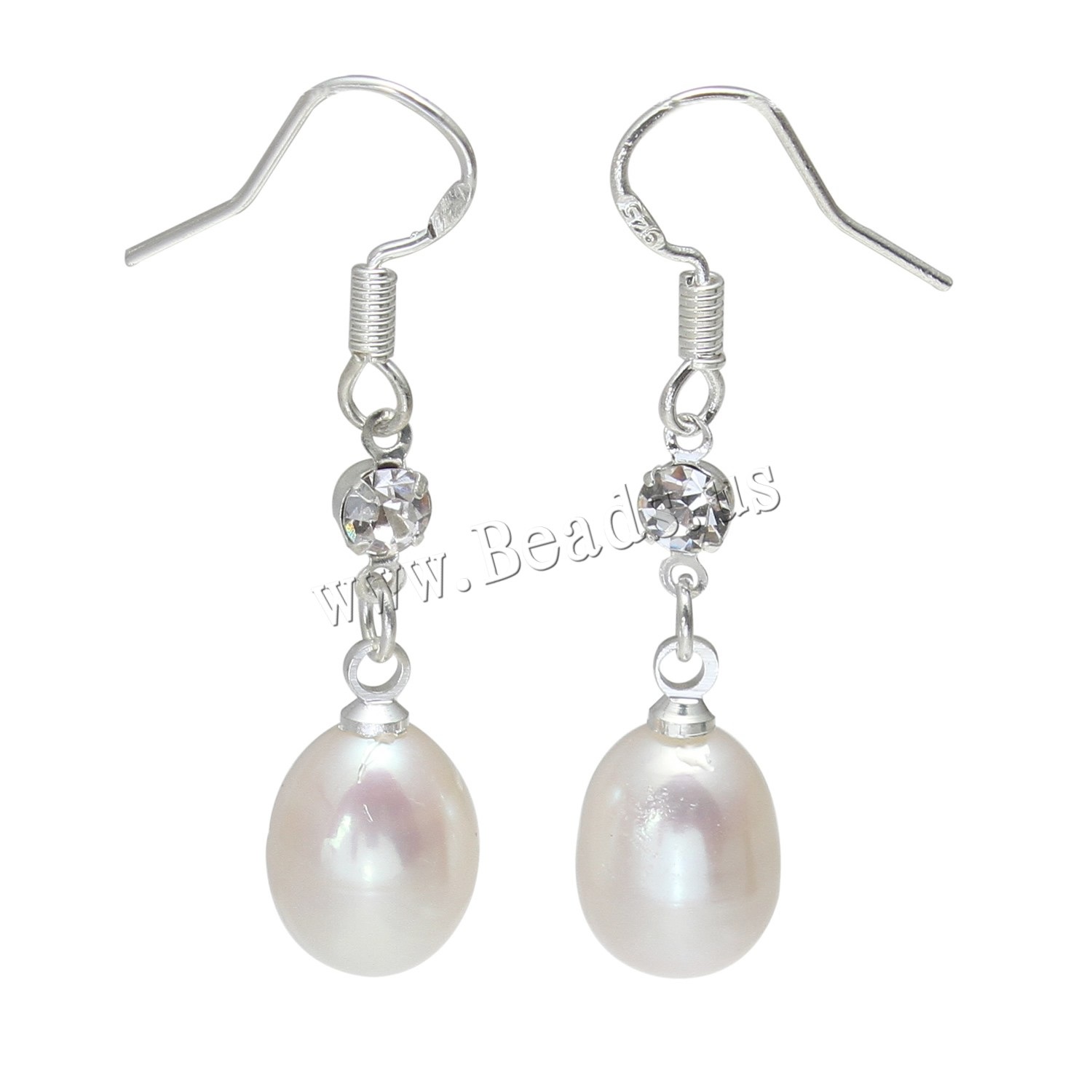 Buy Freshwater Pearl Earrings Brass Rice platinum color plated woman & rhinestone white 10-11mmuff0c39mm Sold Pair