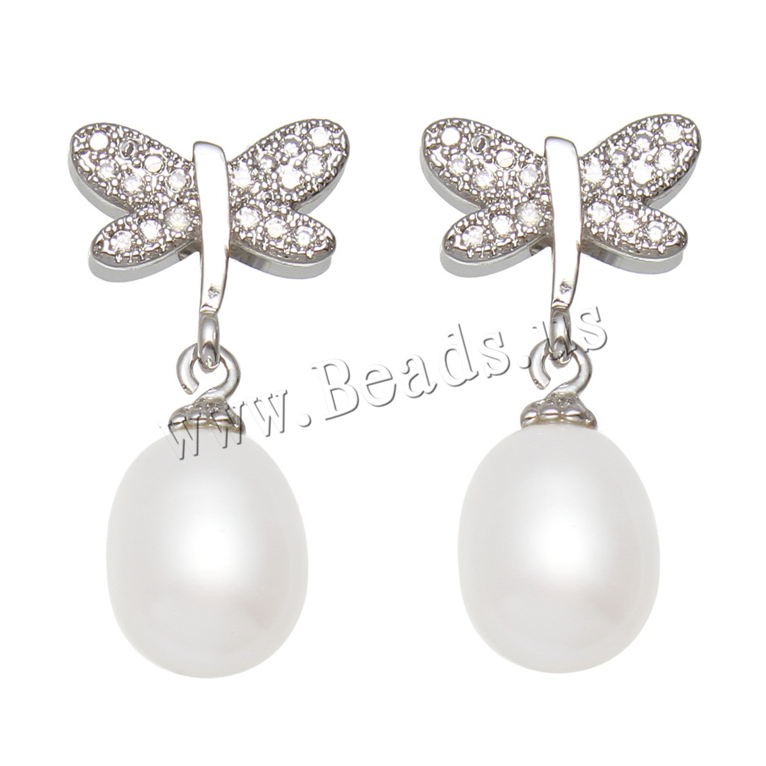 Buy Freshwater Pearl Earrings Brass Rice platinum color plated woman & rhinestone white 7-8mmuff0c11x26x8mm Sold Pair